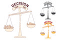 Plus and minus on decision scale pluses minuses conceptual vector image Stock Photography