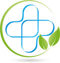 Plus and plant, leaves, medicine and naturopathic logo