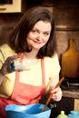Plus size attractive woman preparing cupcake for her boyfriend Stock Images