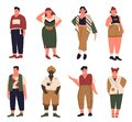 Plus size people set, cartoon collection with curvy fat young man woman in casual summer clothes Royalty Free Stock Photo