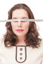 Plus size woman blindfold with centimeter beautiful Royalty Free Stock Image