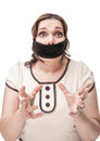 Plus size woman gagged and scared Royalty Free Stock Photo