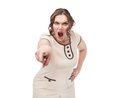 Plus size woman pointing the finger and screaming on white background Stock Photo
