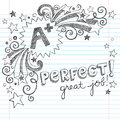 A plus student great grades school sketchy doodle back to notebook doodles with lettering shooting stars and swirls hand drawn Royalty Free Stock Photography