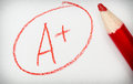 A plus top mark with red pencil Royalty Free Stock Photo