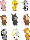 Plush animals toys cartoon set Royalty Free Stock Photo
