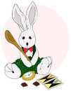 Plush Bunny with wood spoon Royalty Free Stock Photo