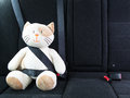 Plush toy cat fastened with seatbelt in the back seat of a car, safety on the road. Protection concept. Royalty Free Stock Photo