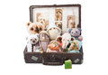 Plush toys in an old suitcase