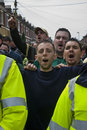 Plymouth Argyle fans shout at rival Exeter City Royalty Free Stock Photography
