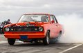 Plymouth valiant signet photo from a drag racing in iceland of a muscle car burnout Stock Photos