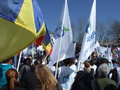 Pmp protest in bucharest popular movement party members demonstrate george enescu square protesting against the government Royalty Free Stock Images