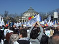 Pmp protest in bucharest popular movement party members demonstrate george enescu square protesting against the government Stock Photo