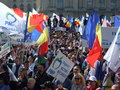 Pmp protest in bucharest popular movement party members demonstrate george enescu square protesting against the government Royalty Free Stock Photo