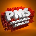 Pms concept premenstrual syndrome the words in white color on cloud of red words on orange background Royalty Free Stock Images