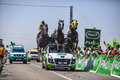 The pmu vehicle saint aoustrille france july of in publicity caravan at intermediate sprint line during stage of Royalty Free Stock Photography
