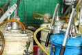 Pneumatic grease filled machine in garage Stock Images