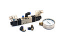 Pneumatic valves with gauge and fitting Royalty Free Stock Image