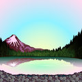 Pnk mountain at sunset the pink sunrise sky reflection in the lake a forest landscape Stock Photos