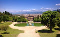 Pnoramic view in boboli gardens in florence of neptune s fountain and pitti palace Royalty Free Stock Image