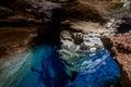 Poço Azul, Cave with blue transparent water in Chapada Diamantina - Bahia, Brazil Royalty Free Stock Photo