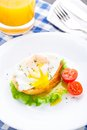 Poached egg with dill on bread tomato a side Royalty Free Stock Image