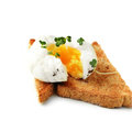 Poached egg on toast with salad cress and cracked black pepper copy space Stock Photos