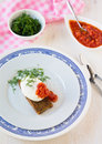 Poached egg on a toasted bread breakfast with tomato sauce and dill Stock Photo