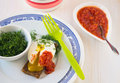 Poached egg on a toasted bread sliced breakfast with tomato sauce and dill Stock Photo