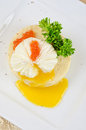 Poached eggs nest mashed potatoes greens caviar Stock Images