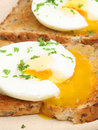 Poached eggs on toast breakfast buttered wholemeal Stock Photo