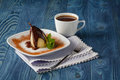 Poached pear with chocolate Royalty Free Stock Photo