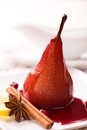 Poached pear in red wine Royalty Free Stock Photo