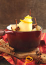 Poached pear with spices in pan Royalty Free Stock Photos