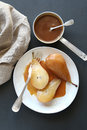 Poached pears with caramel Royalty Free Stock Photo