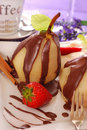 Poached pears with chocolate Royalty Free Stock Photo