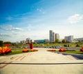 Pobediteley avenue in minsk belarus view of central street winners toned photo Stock Photo
