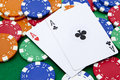 Pocket aces on a casino table Royalty Free Stock Photo