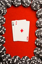 Pocket Aces on Red Felt Stock Photo