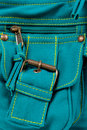 Pocket of blue-green fabric bag Royalty Free Stock Image