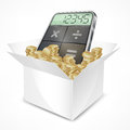 Pocket calculator in box with coins Royalty Free Stock Photos