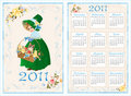 pocket calendar 2011. 70 x105 mm Royalty Free Stock Photo
