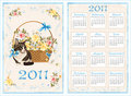 Pocket calendar 2011 with cat. 70 x105 mm Royalty Free Stock Image