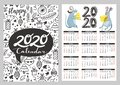 Pocket calendar with illustrations of funny mouse, cheese and doodle elements. Royalty Free Stock Photo
