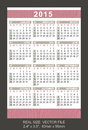 Pocket calendar start on sunday size x mm x mm Stock Photo
