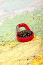 Pocket compass an image of red and road map Royalty Free Stock Image