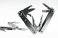 Pocket knife or Steel multi-function tools isolated on white background. Hand tools in industry jobs Royalty Free Stock Photo