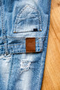 Pocket and label of ripped jeans Royalty Free Stock Photo