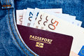 Pocket with passport and Euros Royalty Free Stock Photos
