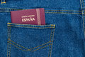 Pocket passport spain in the back of jeans Royalty Free Stock Image